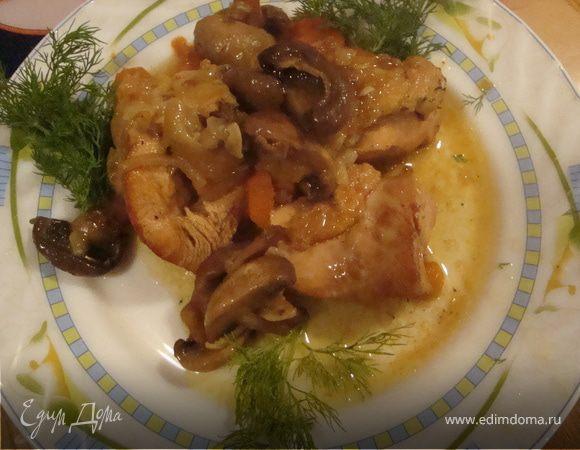 Курица с грибами в ананасовом соусе