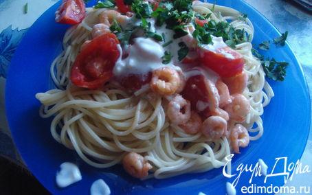 Рецепт Креветки с натуральным йогуртом,черри и чесноком
