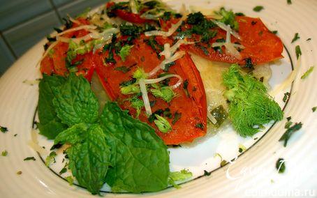 Рецепт Печёный фенхель с курицей и томатами