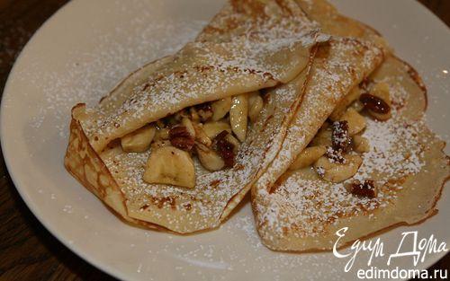 Рецепт Блины с бананами, грецкими орехами и кокосовой стружкой