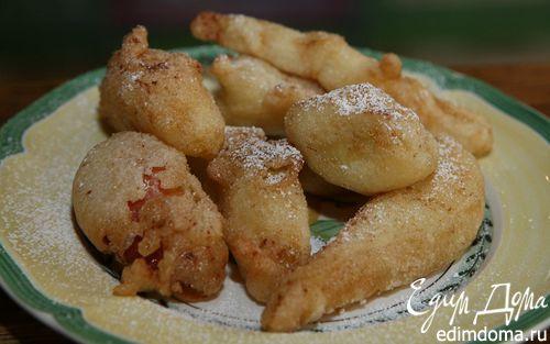 Рецепт Банан, груша и яблоко во фритюре