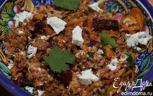 Рецепт Гречка с овощами, козьим сыром и белым вином