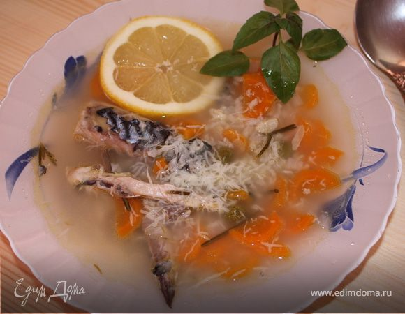 Суп из скумбрии с розмарином и лимоном