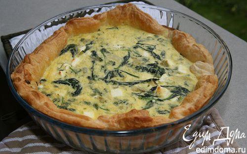 Рецепт Киш с фетой, шпинатом и зеленым луком