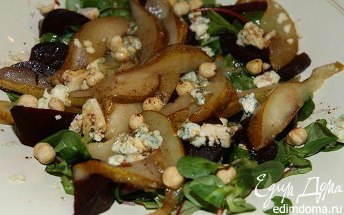 Рецепт Салат из запеченной свеклы, груши, сыра и орехов