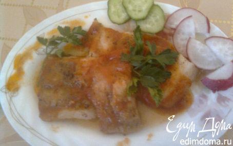 Рецепт Запеченная рыбка под томатно-чесночным соусом