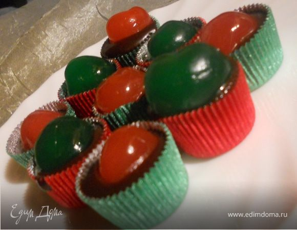 Мягкие шоколадные конфеты с ромом и вишней