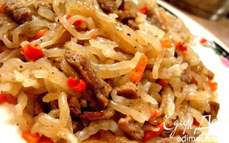 Рецепт Чапче – крахмальная лапша с овощами и говядиной. Рецепт №4. Корея.