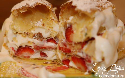 Рецепт Пирожное «Клубничный наполеон»