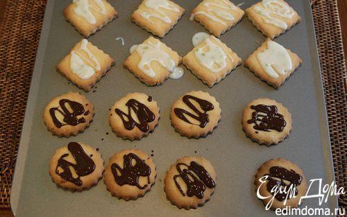 Рецепт Печенье с шоколадом и лимонной глазурью