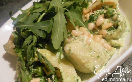 """Рецепт Паста """"ракушки"""" с семгой, зеленым горошком и пряным соусом из руколы"""
