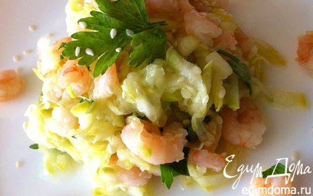 Рецепт Теплый салат с цукини и креветками