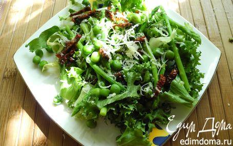 Рецепт Салат из спаржи с зеленым горошком с мятным соусом