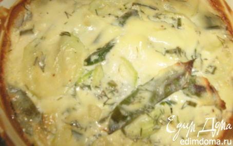 Рецепт Гратен с кабачками и молодым зеленым горошком