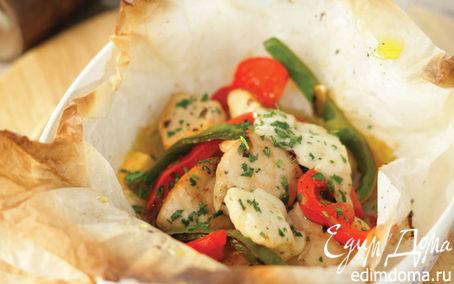 Рецепт Куриная грудка в конверте, запеченная с овощами и сыром