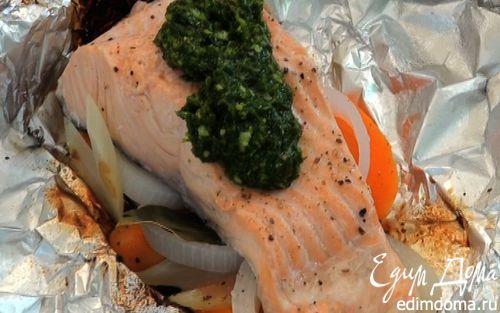Рецепт Семга, запеченная на гриле, с зеленым соусом