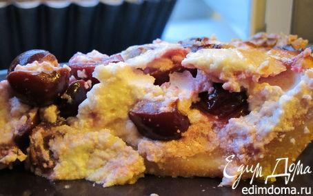 Рецепт Творожный пирог с вишней и легким песочным тестом