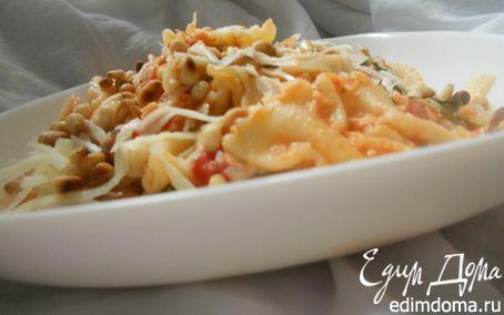 Рецепт Паста с семгой, томатами и кедровыми орешками