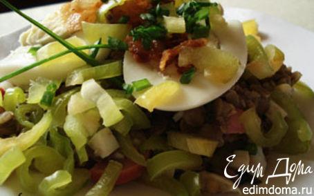 Рецепт Салат из чечевицы с ветчиной и яйцом