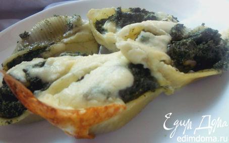 """Рецепт Паста """"Ракушки"""" со шпинатом, рикоттой и кедровыми орешками"""