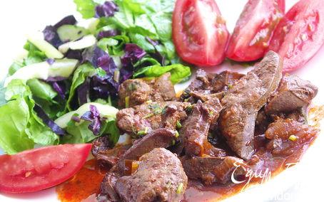 Рецепт Потрошка барашка тушёные в томатном соусе с чесноком и белым вином.