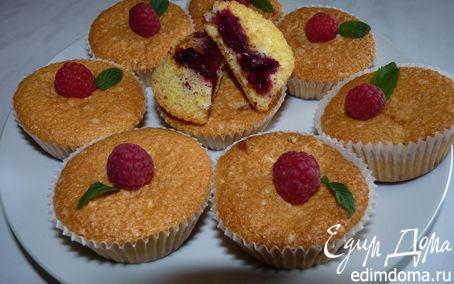 Рецепт Бисквитные кексы с малиной и вишней
