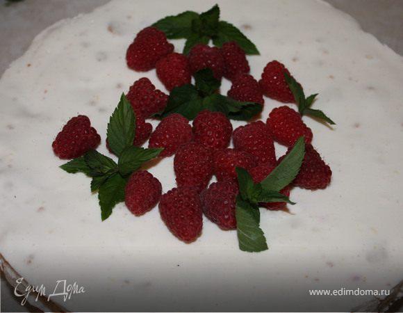Летний торт с малиной