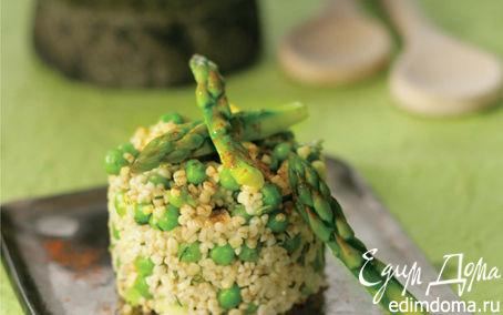 Рецепт Ризотто из булгура со спаржей, зеленым горошком и сыром гравьера