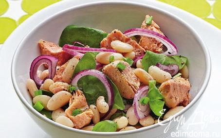 Рецепт Дачный салат с фасолью и горбушей