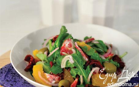 Рецепт Салат аругула с зелеными оливками, вялеными томатами и салями