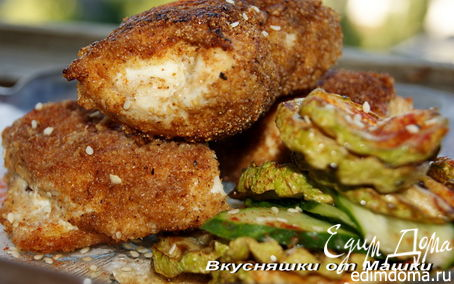 Рецепт Куриные кармашки с кабачками фри