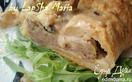 Рецепт Мясной рулет с грибами и кабачком