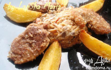 Рецепт Утиное филе в кунжуте с грибным рагу и картофельными дольками