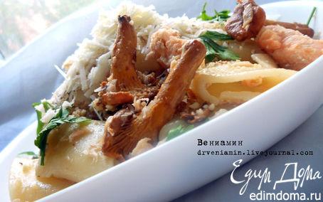 Рецепт Паста с семгой, лисичками и грецкими орехами