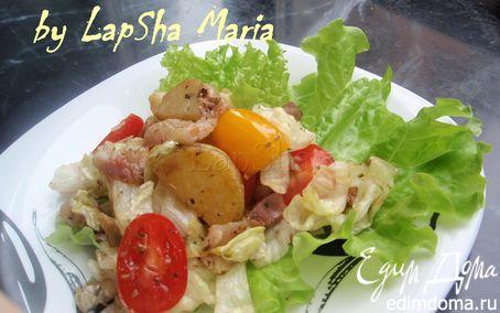 Рецепт Теплый салат с панчеттой, картофелем и помидорами черри