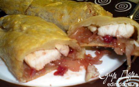 Рецепт Слойка с белым мясом птицы и луково-брусничным конфитюром
