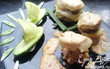 Рецепт Мясные башенки с картофелем и белыми грибами