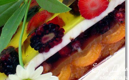 Рецепт Желейный торт с ягодами и шоколадной крошкой