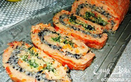 Рецепт Сырный рулет с грибной начинкой