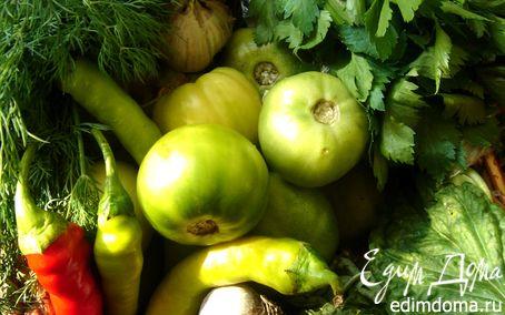 Рецепт Зелёные помидоры,солёные по-грузински и пряный салат из остатков