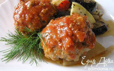 Рецепт Тефтели по-гречески с запеченными овощами
