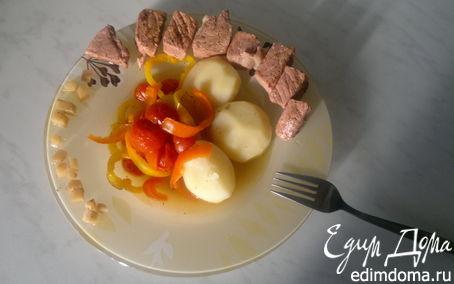 Рецепт Розовая свинина с сумахом + отварной картофели и тушеные овощи