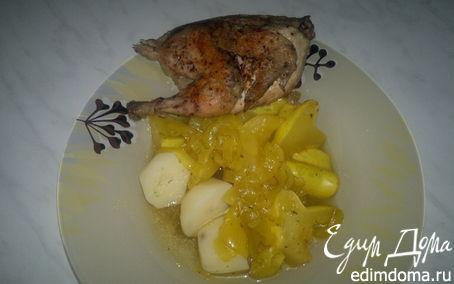 Рецепт Цыпленок чили массала и патиссон с картофелем