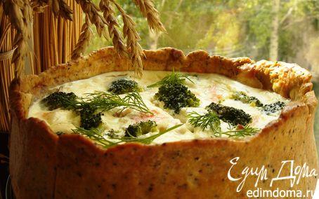 Рецепт Пирог с брокколи и копчёным лососем