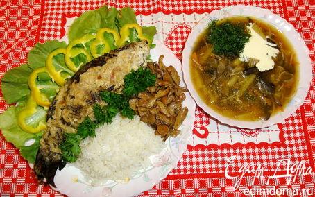 """Рецепт """"Дары леса"""".( Грибной суп, линь в сметане, запеченый в фольге с рисом и жареными рыжиками)"""