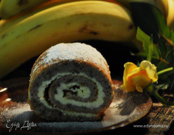 Банановый рулет с творожной начинкой
