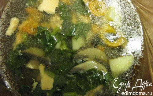 Рецепт Суп из стейков лосося с шампиньонами и шпинатом