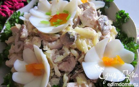 Рецепт простенький салат: грибы+курица+сыр