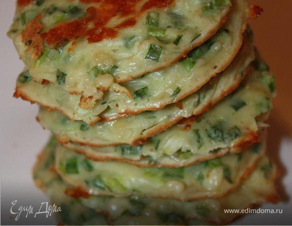 Оладушки из зеленого лука и сыра