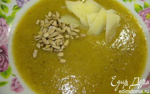Рецепт Суп-пюре со сладким перцем, спаржевой фасолью и грибами